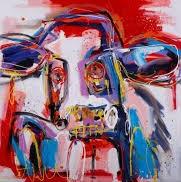 schilderij koe, 60x60cm