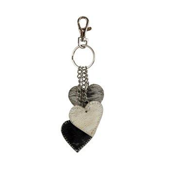 sleutelhanger 3 hartjes zwart