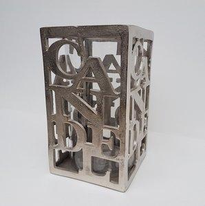 windlicht aluminium/glas,kaarsenhouder,windlicht met tekst,woondecoratie,pinelake lodge